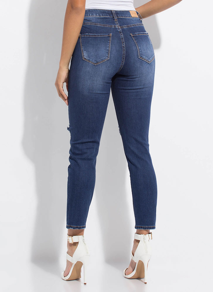 Hole Thing Destroyed Slim-Fit Jeans DKBLUE