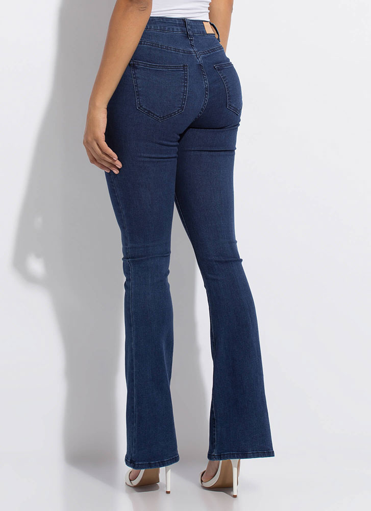 Retro Look Flare-Leg Button-Fly Jeans DKBLUE