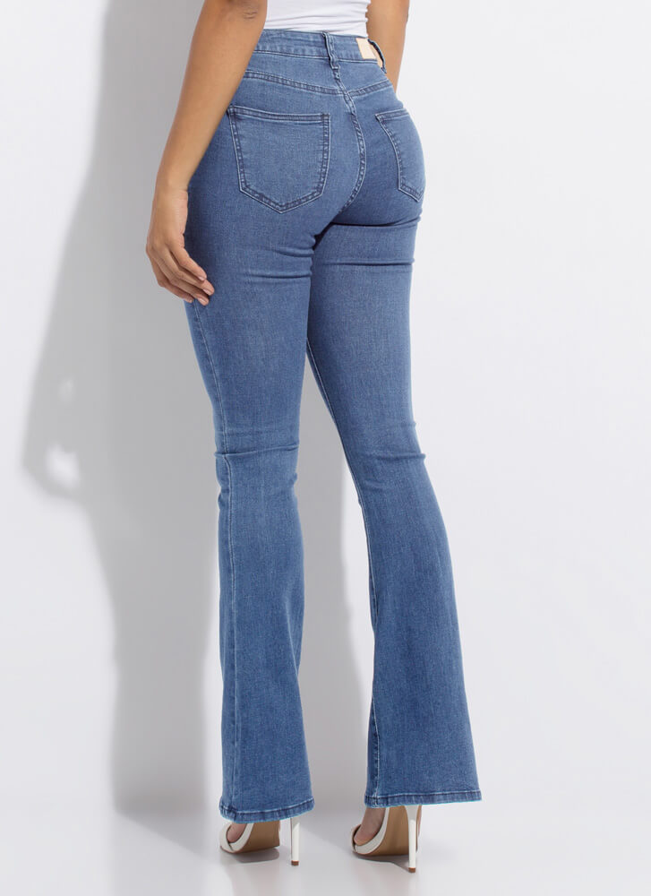 Retro Look Flare-Leg Button-Fly Jeans MEDBLUE
