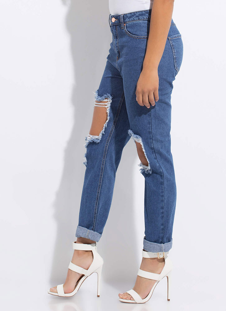 Hole World Destroyed Boyfriend Jeans MEDBLUE