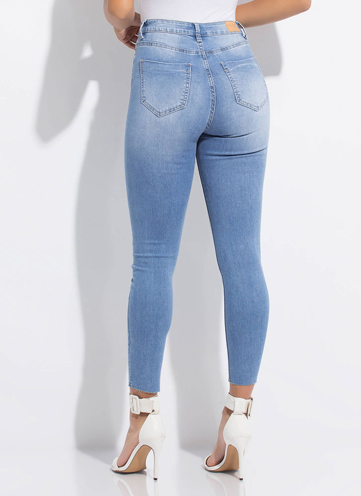 Sparkly Accent Chain Fringe Skinny Jeans LTBLUE (Final Sale)
