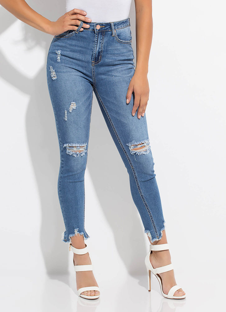 Bitten By The Bug Destroyed Jeans MEDBLUE