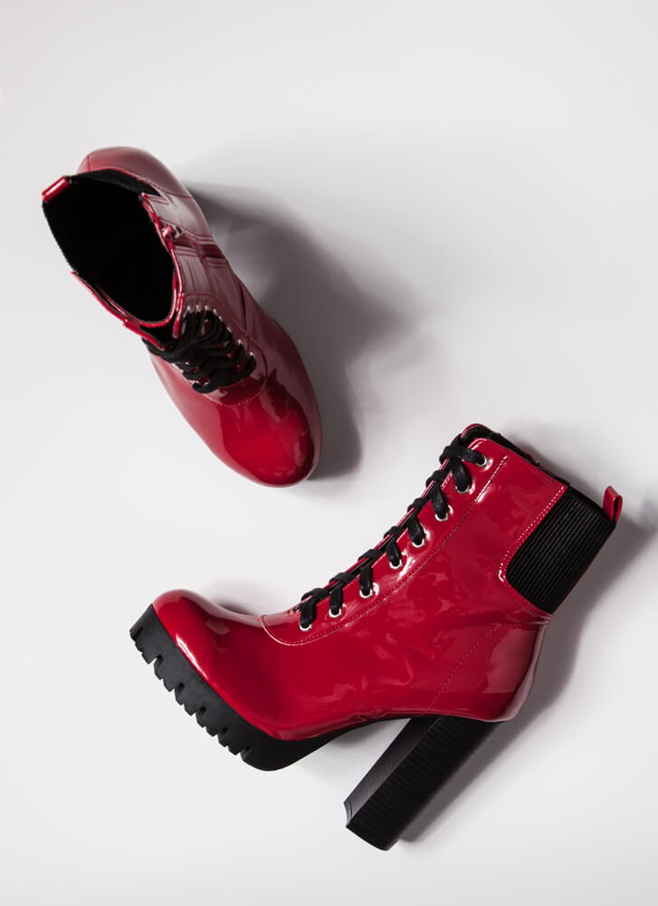 Gloss Move Chunky Faux Patent Lug Booties RED