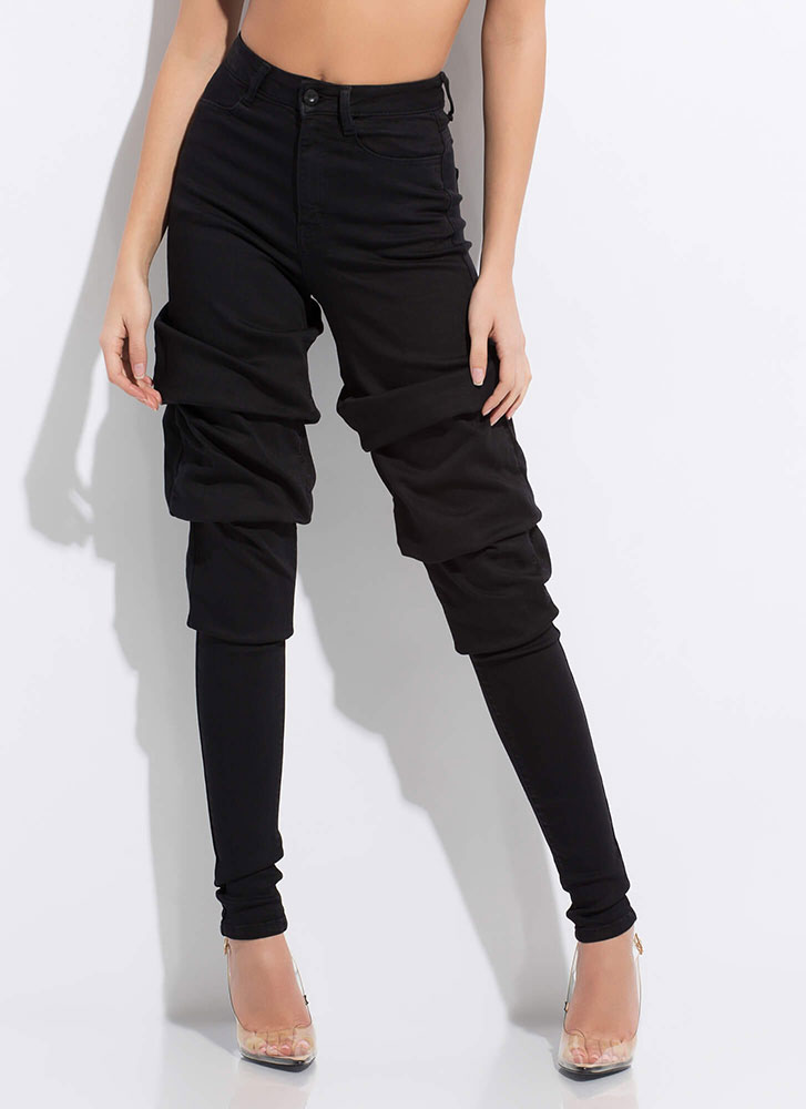 Gather Around Bunched High-Waisted Jeans BLACK