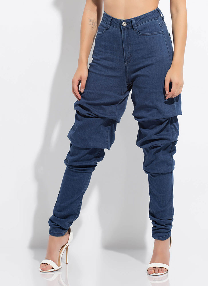 Gather Around Bunched High-Waisted Jeans MEDBLUE