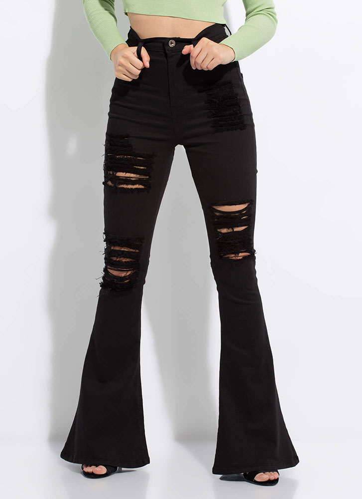 Rip Tide Destroyed Bell-Bottom Jeans BLACK