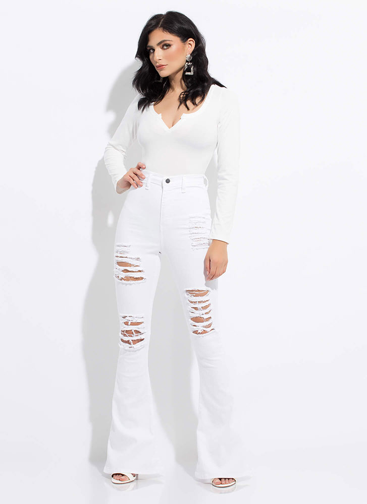 Rip Tide Destroyed Bell-Bottom Jeans WHITE