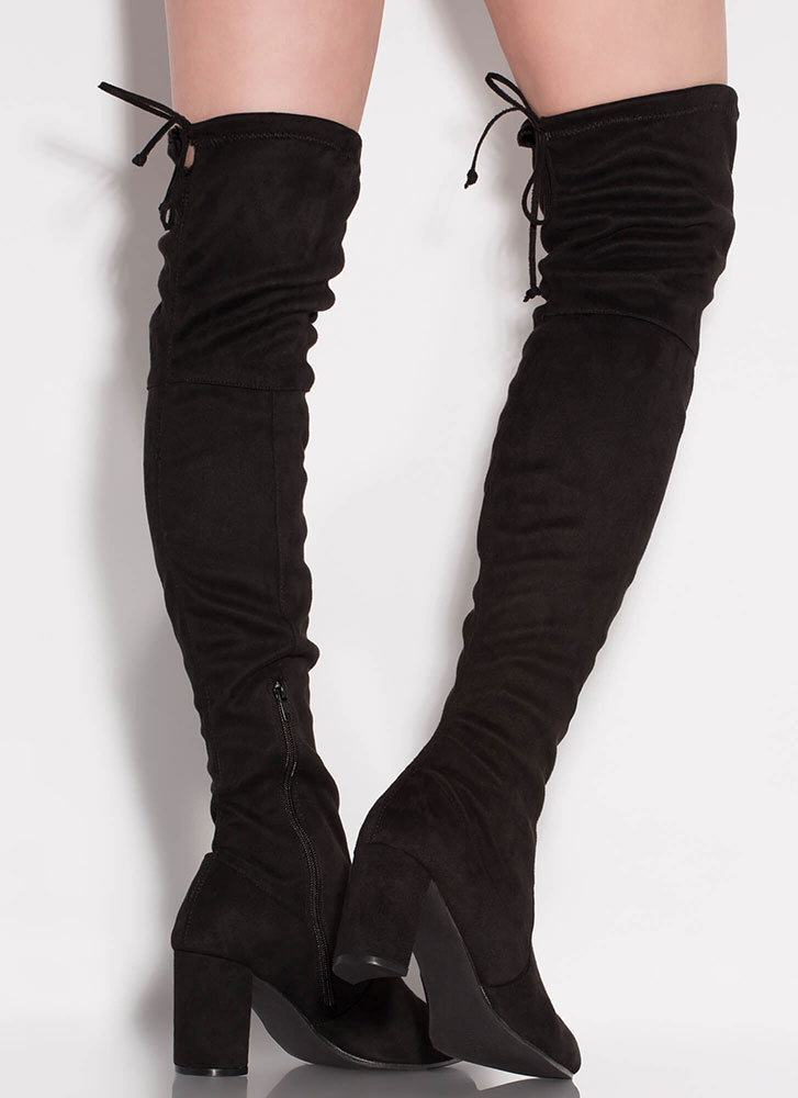 Most Wanted Chunky Thigh-High Boots BLACK