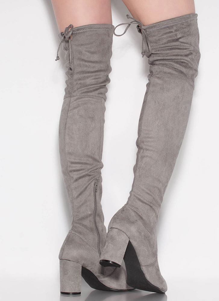 Most Wanted Chunky Thigh-High Boots GREY