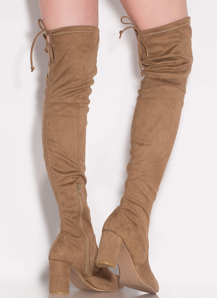 Most Wanted Chunky Thigh-High Boots TAUPE