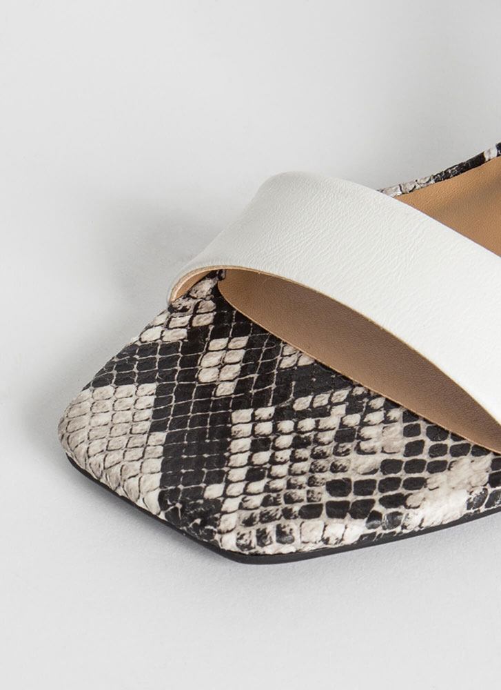 Snake Up My Mind Colorblock Heels WHITE
