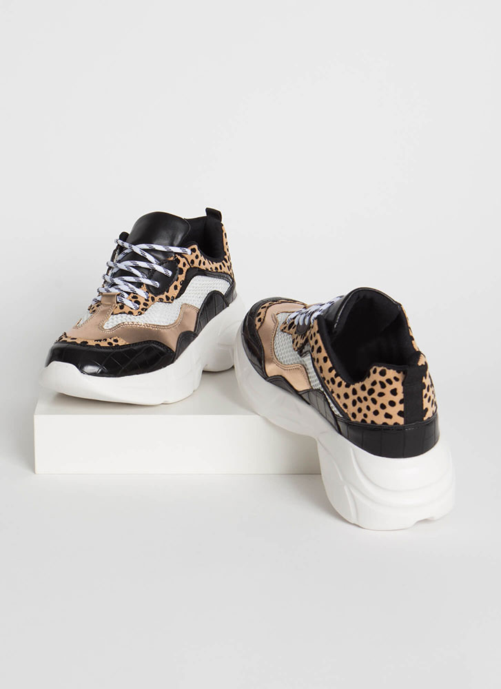 Cute In Crocodile Platform Sneakers BLACK