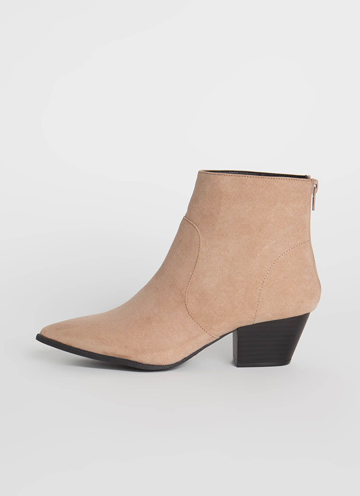 Mystique Pointy Faux Suede Booties TAUPE
