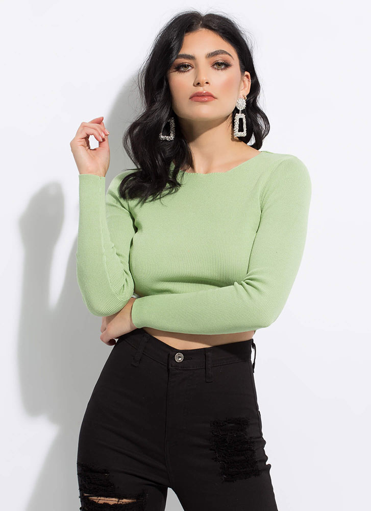 Short And Sweet Cropped Knit Top SAGE