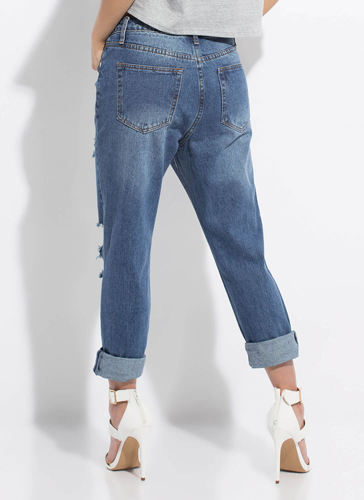 It's Casual Destroyed Girlfriend Jeans DKBLUE