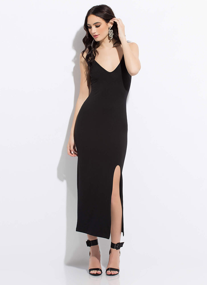 Down For Anything Slit Maxi Dress BLACK