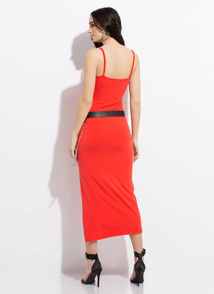 Down For Anything Slit Maxi Dress CORAL