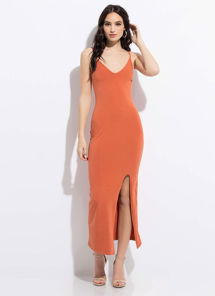 Down For Anything Slit Maxi Dress TERRACOTTA