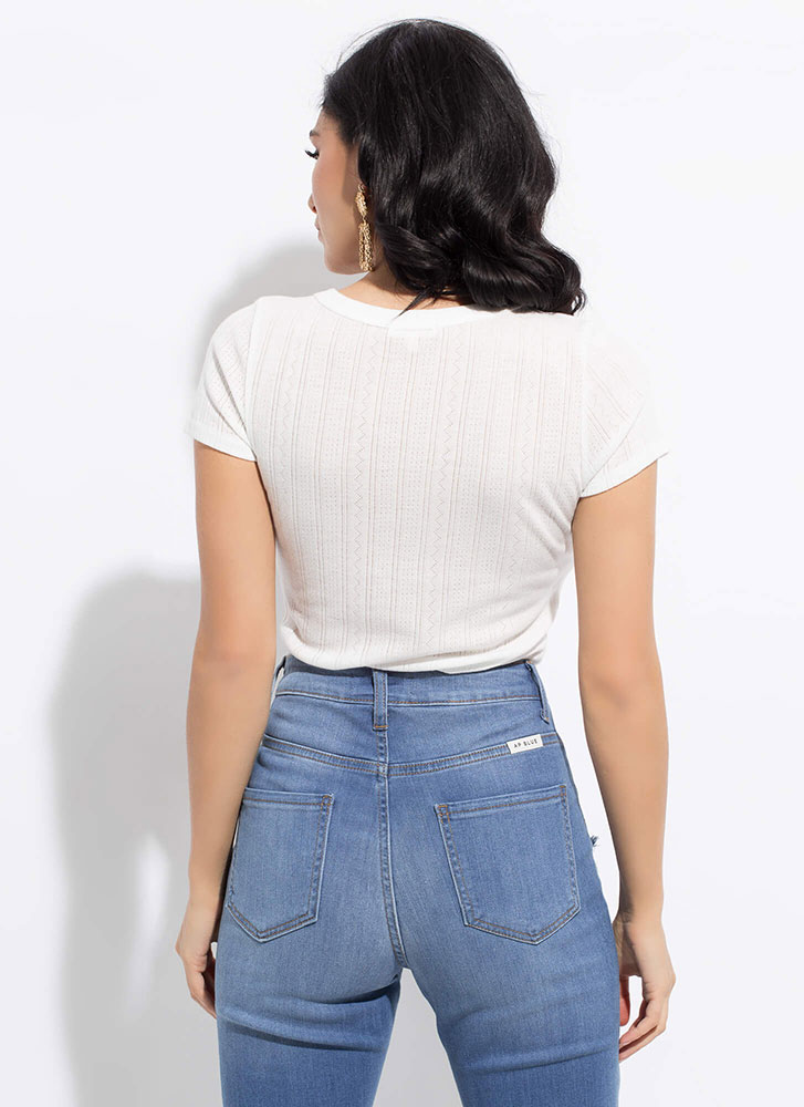 Basic Beauty Short-Sleeved Crop Top WHITE