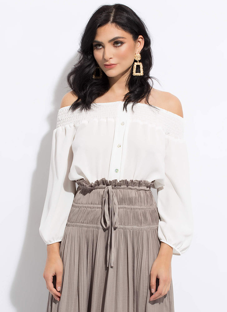 Villa Vacay Cropped Off-Shoulder Blouse WHITE