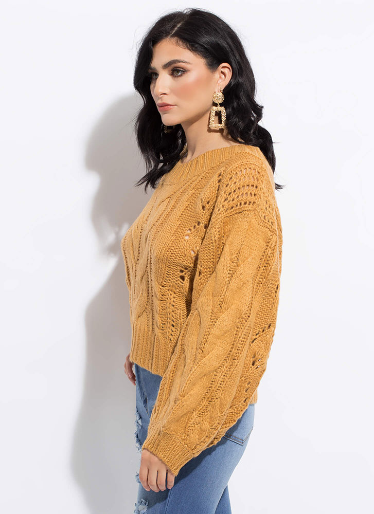 Cable Knit Cutie Balloon-Sleeve Sweater CARAMEL
