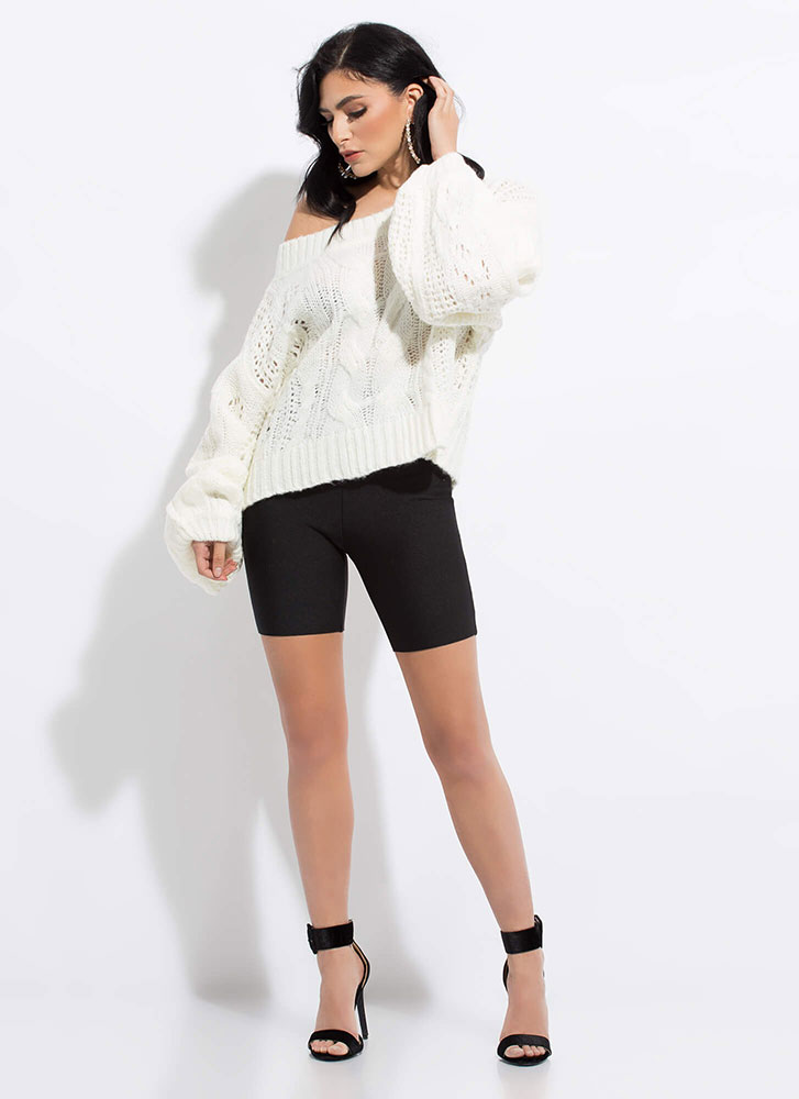 Cable Knit Cutie Balloon-Sleeve Sweater WHITE