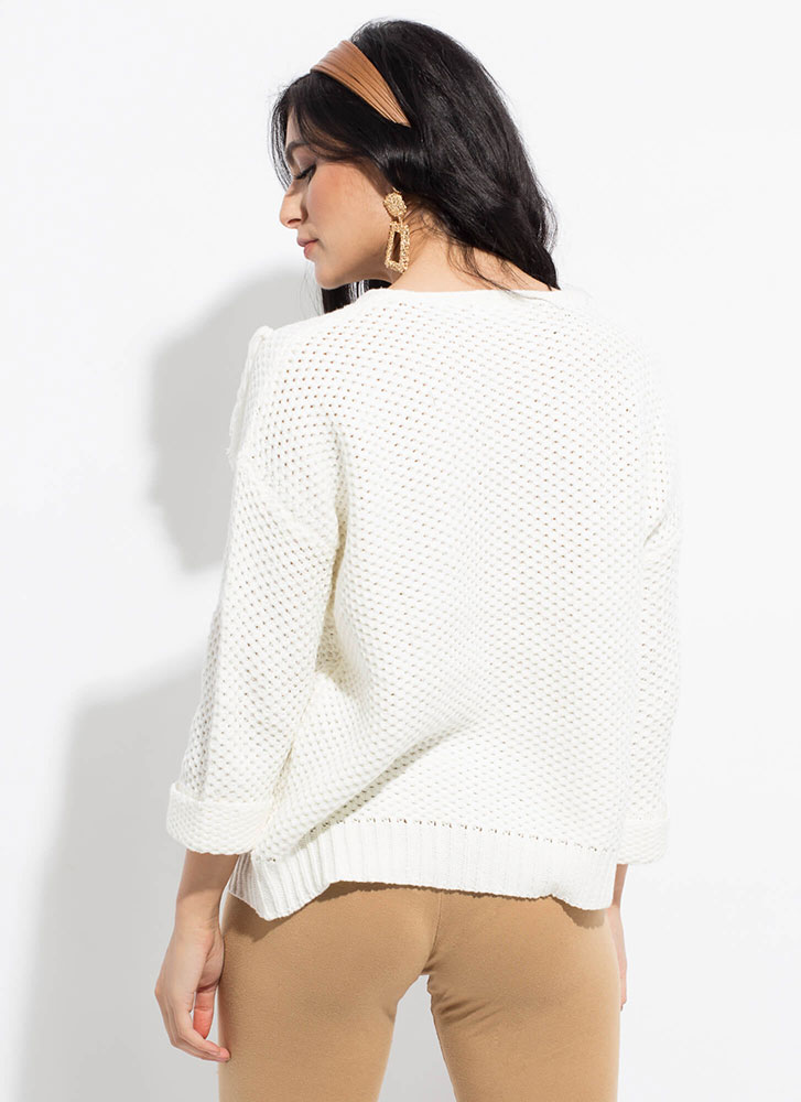 Tassel Time Fringed Knit Sweater WHITE