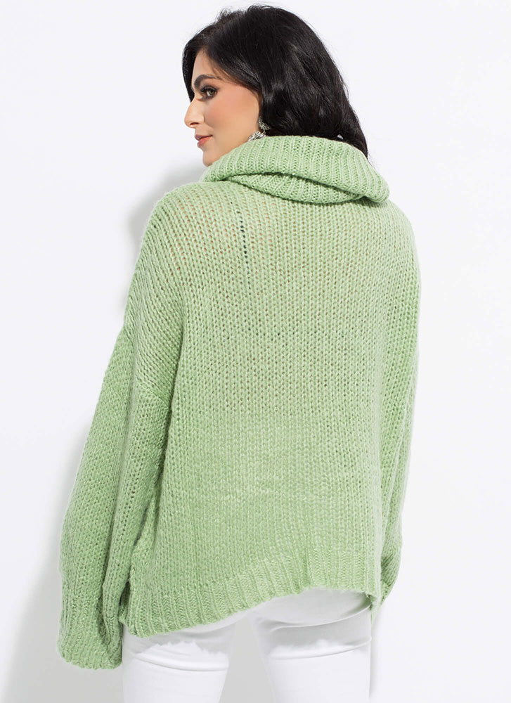 Necks Level Knit Turtleneck Sweater SAGE