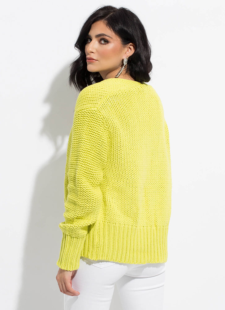 Don't Forget Your Sweater Knit Cardigan LIME
