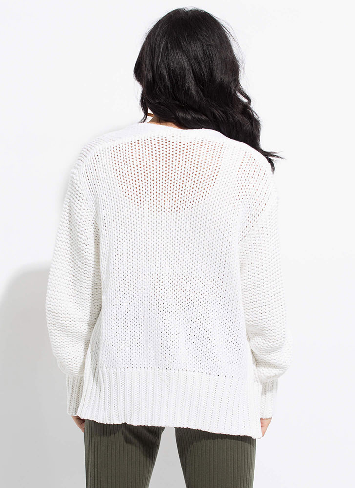 Don't Forget Your Sweater Knit Cardigan WHITE