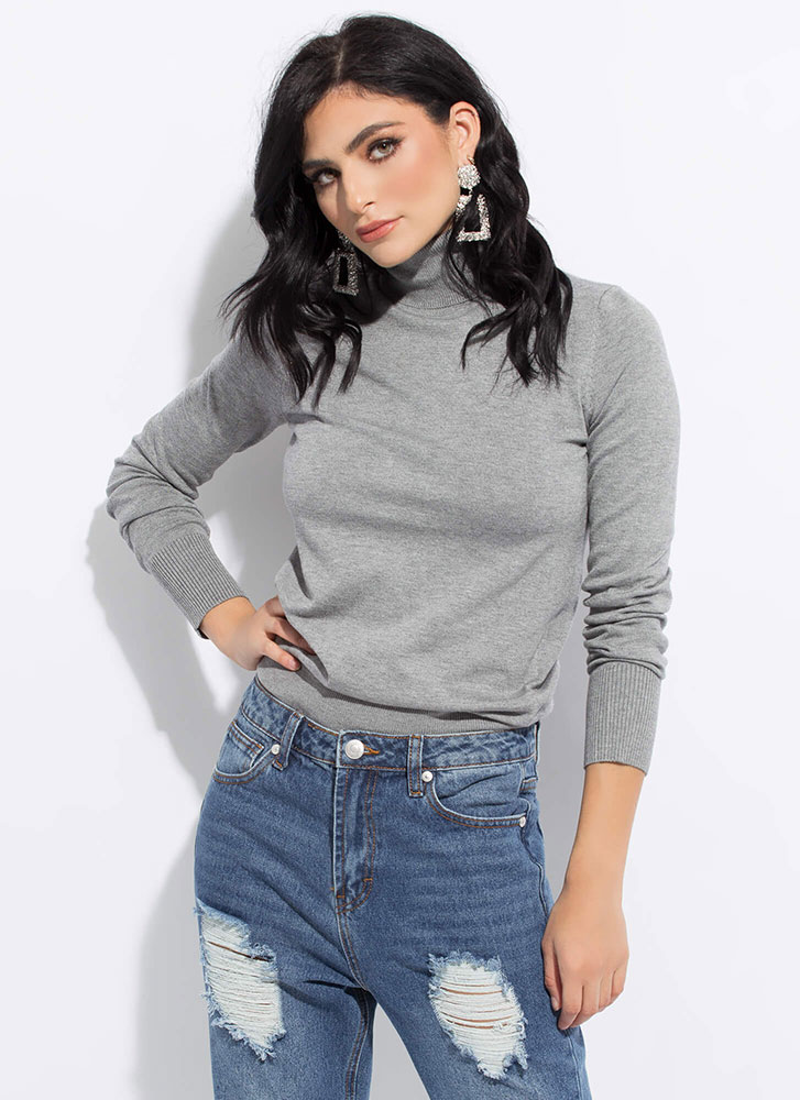 Nothing Chicer Knit Turtleneck Sweater GREY