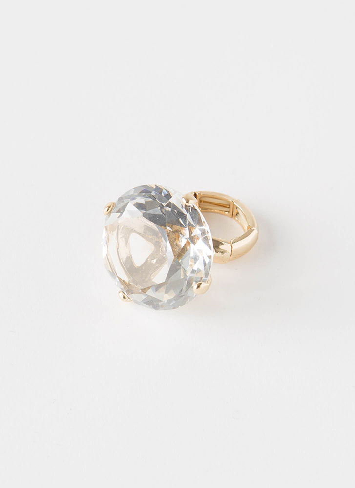 Big Deal Stretchy Faux Diamond Ring GOLDCLEAR