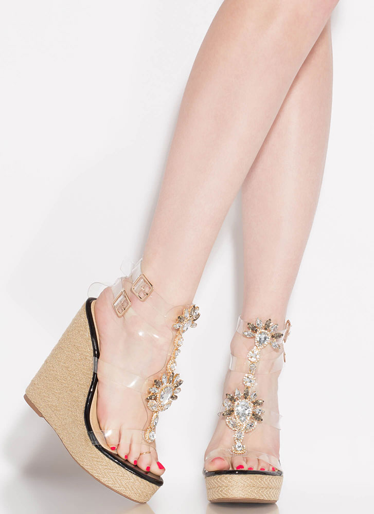 Clearly Gorgeous Jeweled Platform Wedges BLACK