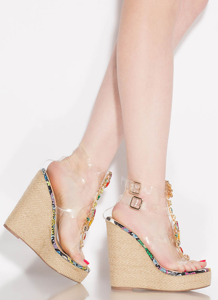 Clearly Gorgeous Jeweled Snake Wedges MULTI