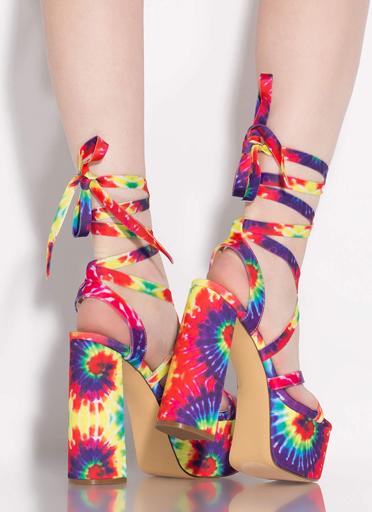 Get High Lace-Up Tie-Dye Platforms RAINBOW