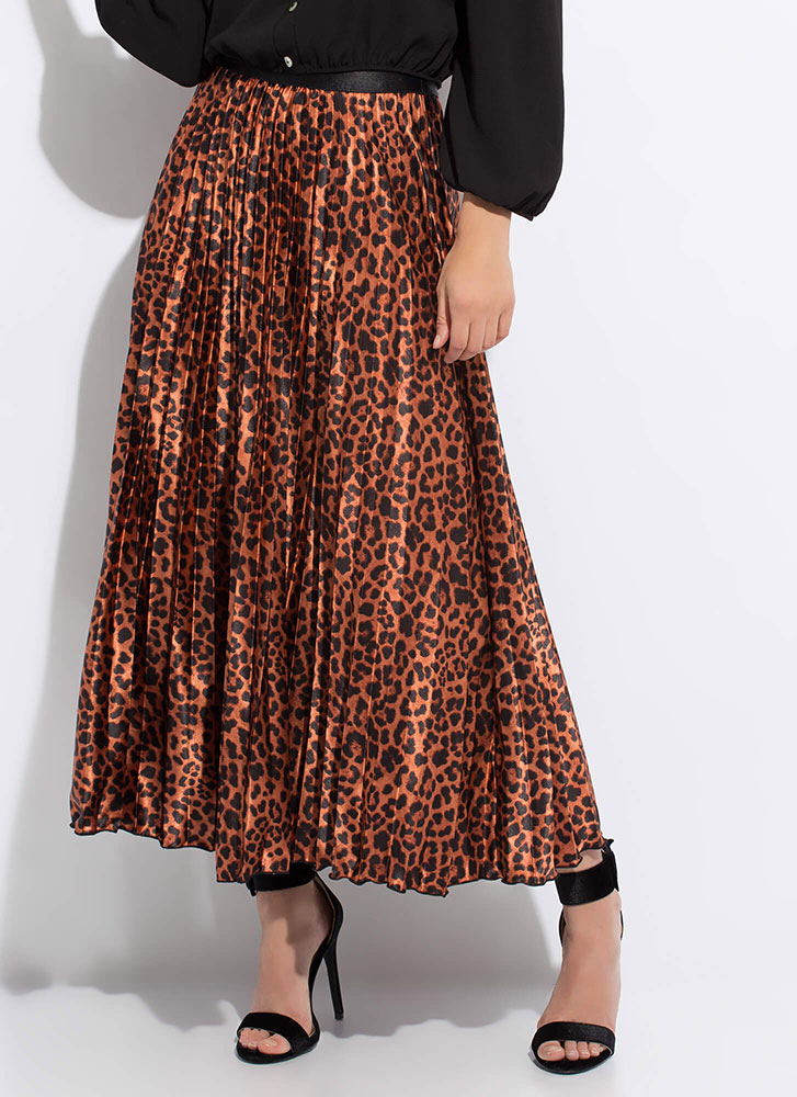 Lady Leopard Pleated Satin Maxi Skirt COPPER