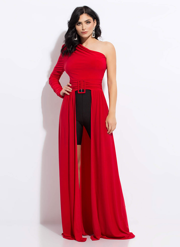 Statuesque One-Shoulder Split-Front Maxi RED