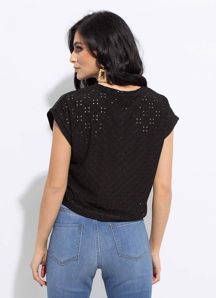 Open Your Eyelets Embroidered Top BLACK