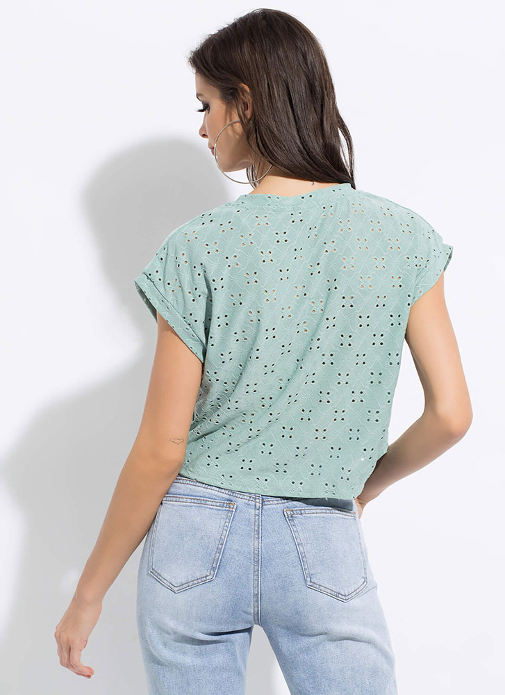 Open Your Eyelets Embroidered Top SAGE