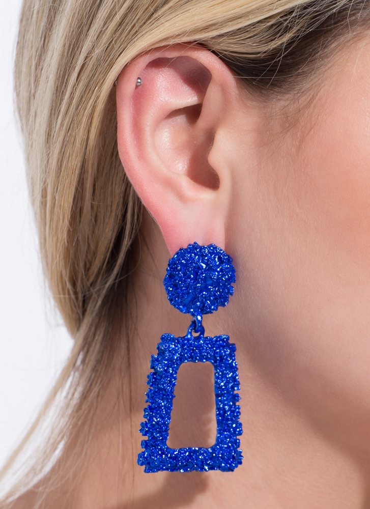 Frame Of Mind Textured Earrings BLUE