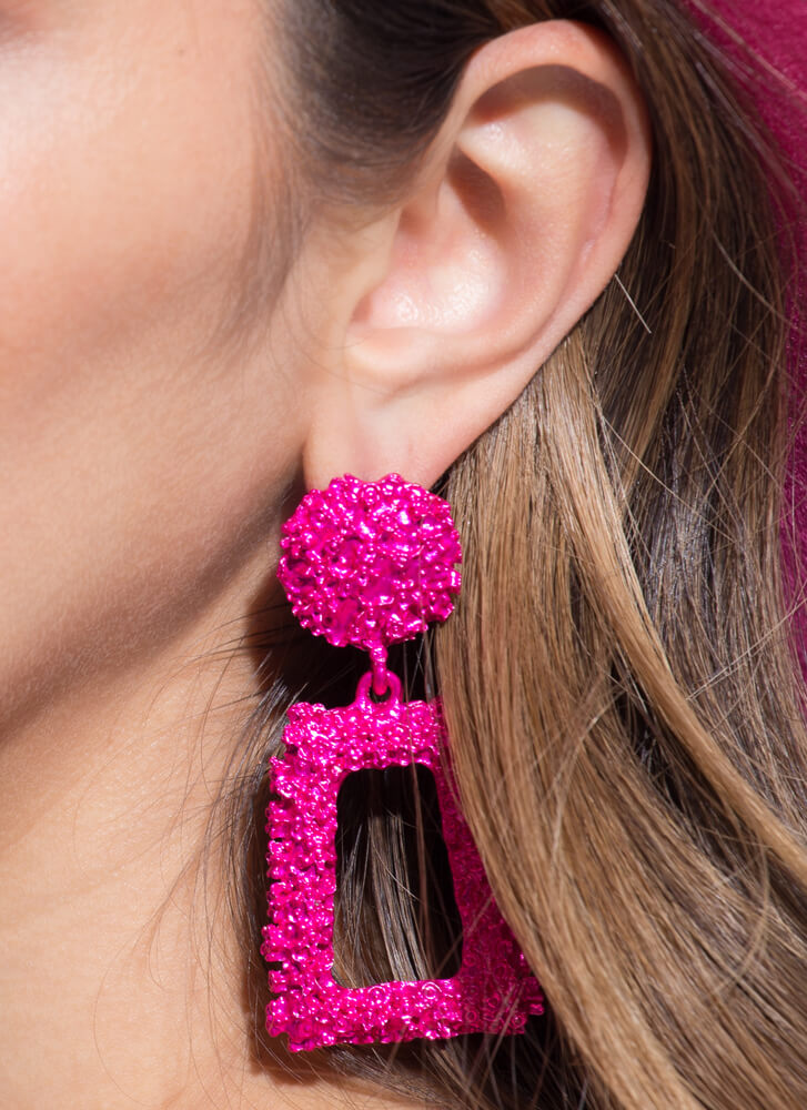 Frame Of Mind Textured Earrings FUCHSIA