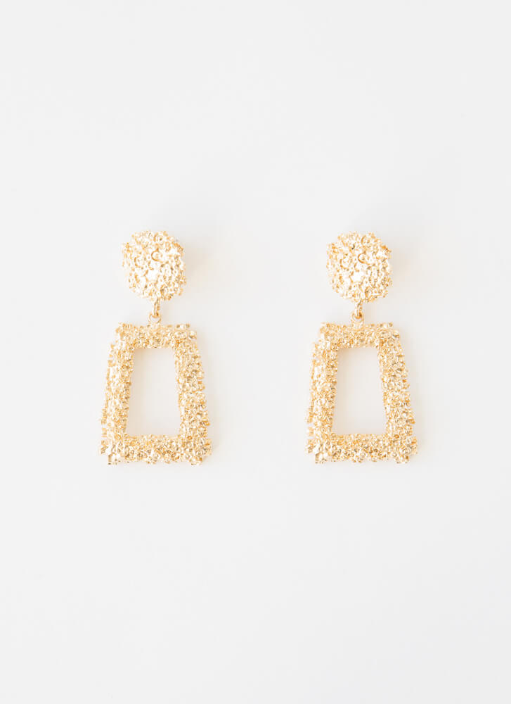 Frame Of Mind Textured Earrings GOLD
