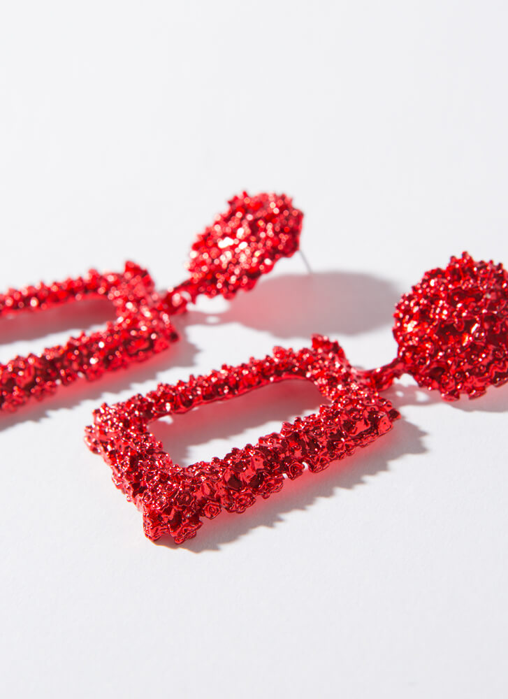 Frame Of Mind Textured Earrings RED