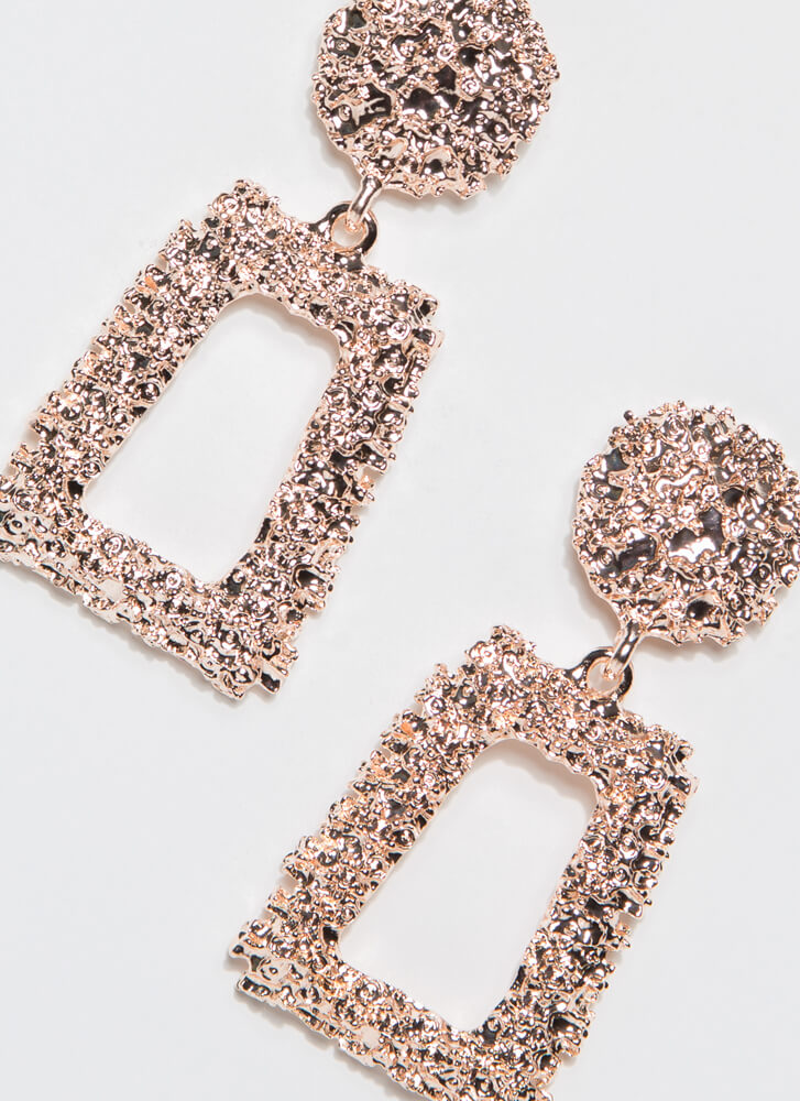 Frame Of Mind Textured Earrings ROSEGOLD