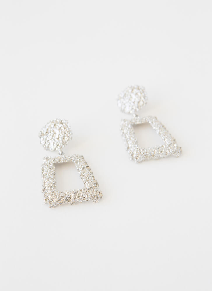Frame Of Mind Textured Earrings SILVER