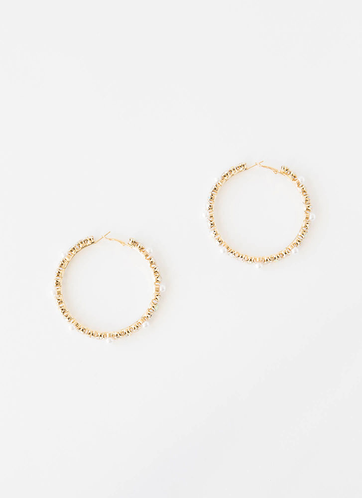Jewelry Box Oversized Faux Pearl Hoops GOLD