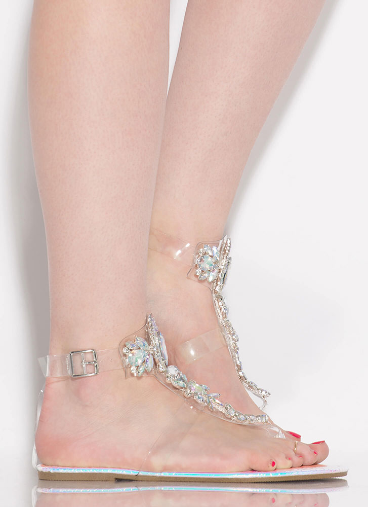 I'm A Gem Clear Jeweled Scaled Sandals PINK