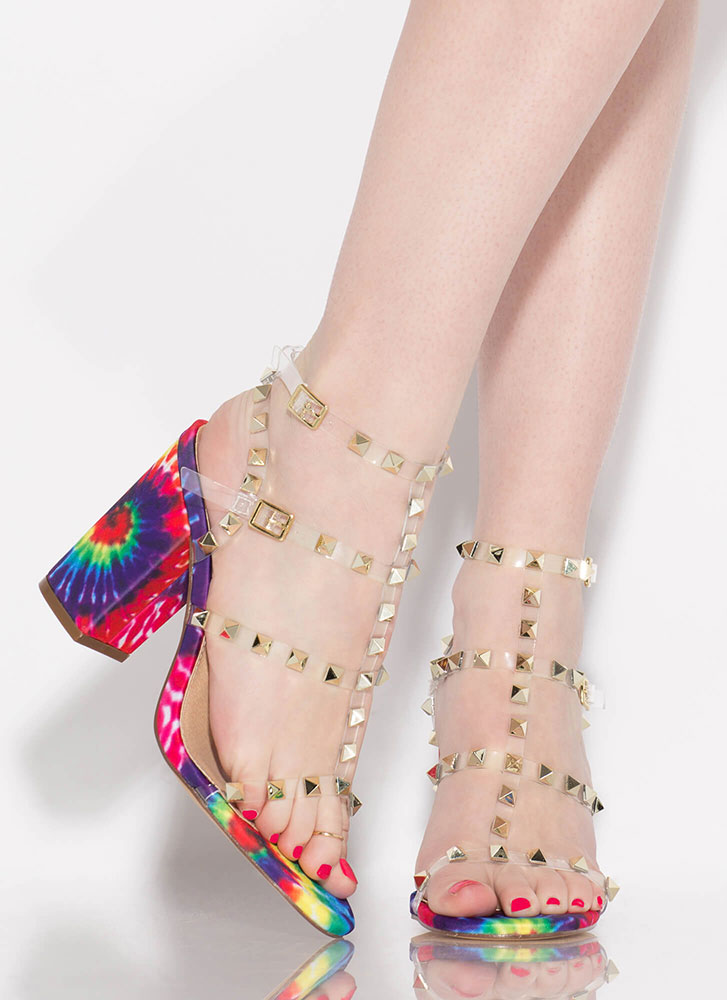 Clearly Studded Caged Chunky Heels RAINBOW