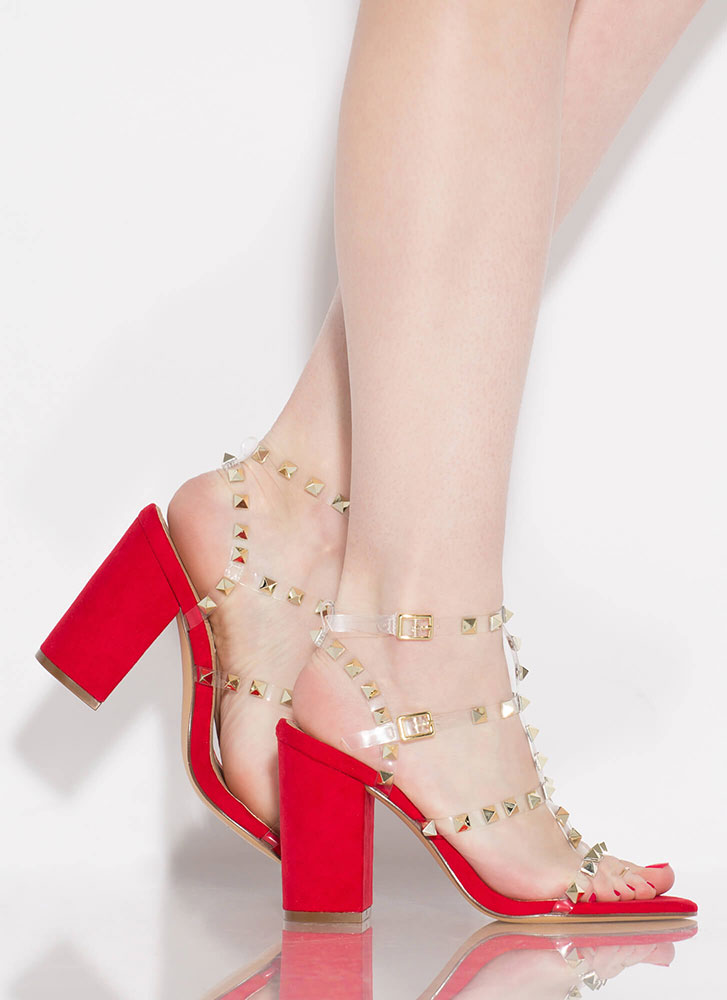 Clearly Studded Caged Tie-Dye Heels RED