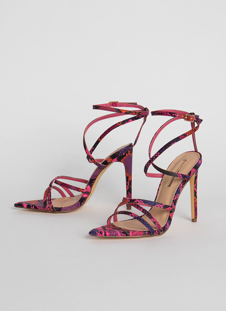 All Straps Pointy Snake Print Heels PINK (Final Sale)